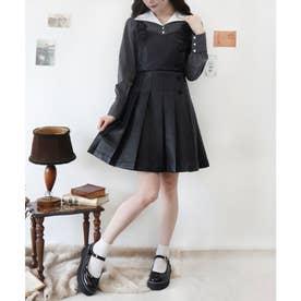 フェイクレザープリーツジャンパースカート (BLACK)