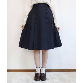釦使いサイドプリーツスカート (NAVY)