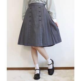 釦使いサイドプリーツスカート (GRAY)
