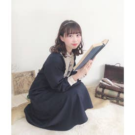 絵画風ヨーク刺繍ワンピース (NAVY)