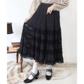 レース切替ティアードロングスカート (BLACK)