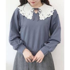 カットワーク付け衿スウェットプルオーバー (BLUE)