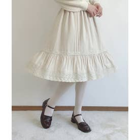 クロシェレース使いピンタックギャザースカート (CREAM)