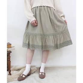 クロシェレース使いピンタックギャザースカート (L/GREEN)