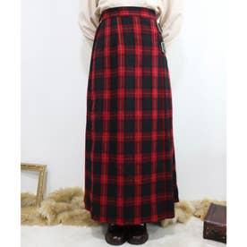 キルト風タータンチェックロングスカート (RED×BK)