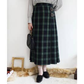 キルト風タータンチェックロングスカート (GREEN×NV)