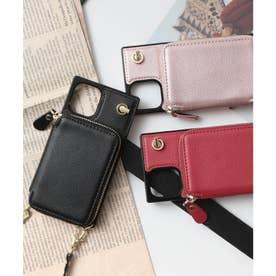 背面ファスナーポケット付きスマホケース iPhone12mini対応 (ブラック)
