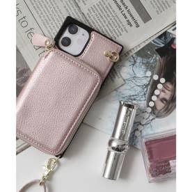 背面ファスナーポケット付きスマホケース iPhone12mini対応 (ピンクベージュ)