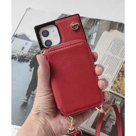 背面ファスナーポケット付きスマホケース iPhone12mini対応 (レッド)