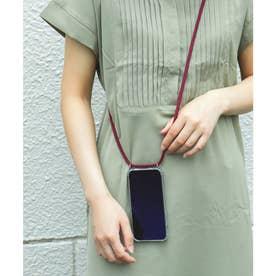 ショルダーストラップ付iphone12/12proアイフォンケース (ボルドー)