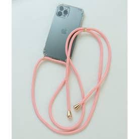 ショルダーストラップ付iphone12/12proアイフォンケース (サーモンピンク)