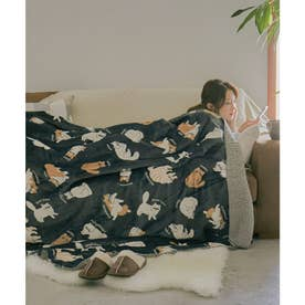 [140×180cm]アニマルラージブランケット毛布 (ネコ・ダークグレー)