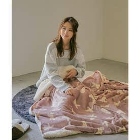 [140×180cm]アニマルラージブランケット毛布 (ウサギ・ピンク)