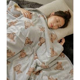 [140×180cm]アニマルラージブランケット毛布 (ベア・グレー)