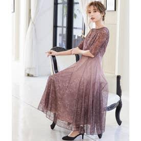 グラデーションシアーレースワンピース 結婚式 ドレス (ピンク)