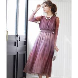 グラデーションチュールプリーツワンピース 結婚式 ドレス (ピンク)