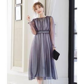グラデーションチュールプリーツワンピース 結婚式 ドレス (アーミーカーキ)