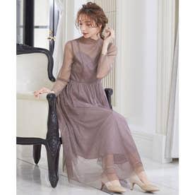 ラメチュールメロウワンピースドレス (ブラウン)