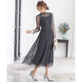 ラメチュールメロウワンピースドレス (ブラック)