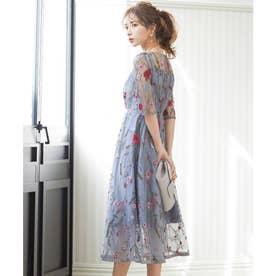 ヴィンテージ風フラワー刺繍ドレス 結婚式ワンピース (ブルーグレー)