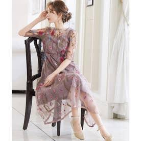 ヴィンテージ風フラワー刺繍ドレス 結婚式ワンピース (ピンク)