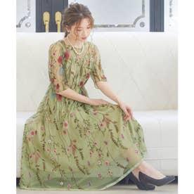 ヴィンテージ風フラワー刺繍ドレス 結婚式ワンピース (イエロー)