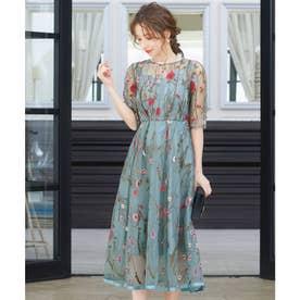 ヴィンテージ風フラワー刺繍ドレス 結婚式ワンピース (ライトカーキ)