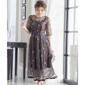 ヴィンテージ風フラワー刺繍ドレス 結婚式ワンピース (チャコール)
