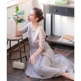 袖レースウエストモチーフワンピース 結婚式ドレス (ラベンダー)
