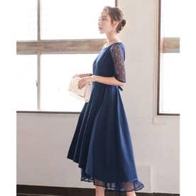 袖レースウエストモチーフワンピース 結婚式ドレス (ネイビー)