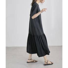 裾ティアード半袖ワンピース (ブラック)