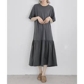 裾ティアード半袖ワンピース (チャコールグレー)
