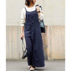 リネンミックスサロペットスカート 20SS (ネイビー)