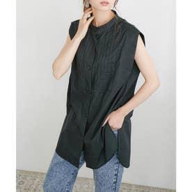 ピンタックドレスシャツ (ブラック)