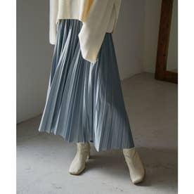 エコレザー フェイクレザー プリーツロングスカート 20AW (ブルー)