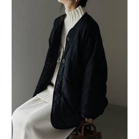 キルティングノーカラーショート丈ジャケットコート (ブラック)