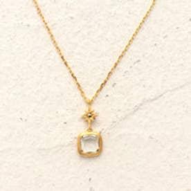 【シルバー】クリスタル ネックレス (ゴールド)