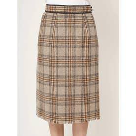 シャギーチェックパイピングタイトスカート (キャメル)