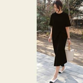 フロントツイストTシャツ (ブラック)