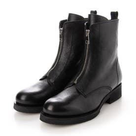 ●ジップデザインショートブーツ (ブラック)