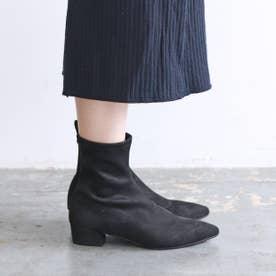 ポインテッドストレッチローヒールブーツ (ブラック雑材)