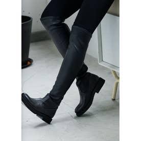 プレーントゥロングブーツ (ブラック)
