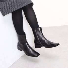 スクエアトゥショートブーツ (ブラック)