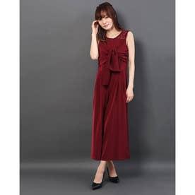 胸元レースロングドレス (ワイン)