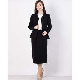 ショールカラージャケットタイトスカートスーツ (ブラック)