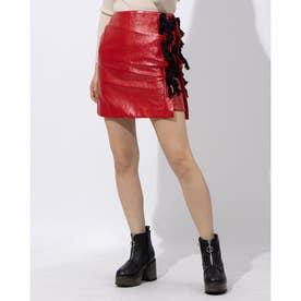エナメルフリンジ付きスカート (RED)