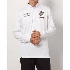 メンズ ゴルフ 長袖シャツ ジャガード長袖シャツ 781521A (ホワイト)