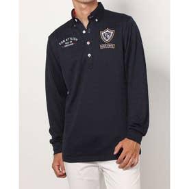 メンズ ゴルフ 長袖シャツ ジャガード長袖シャツ 781521A (ネイビー)