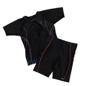 レディース 水泳 フィットネス水着 タンキニフルジップ袖付セパレート水着 3402060 【返品不可商品】 (ブラック)