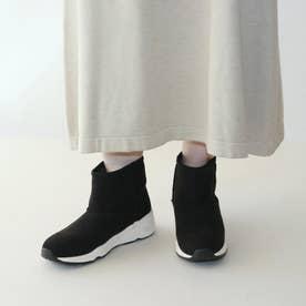 ムートン厚底スニーカーブーツ【低反発スポンジ入り】 (ブラック)